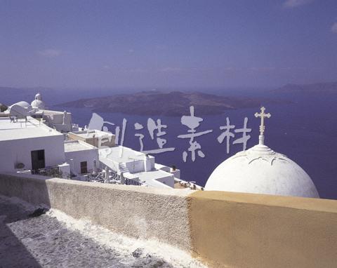フィラの教会とエーゲ海