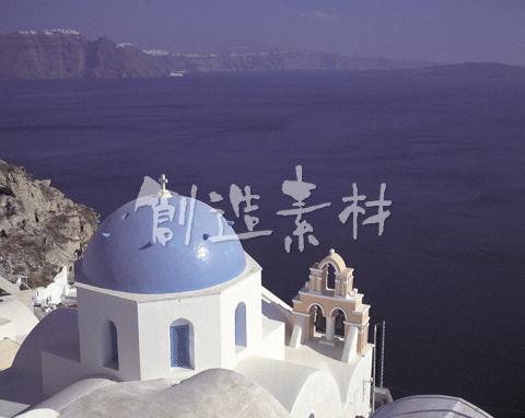 イアの教会とエーゲ海