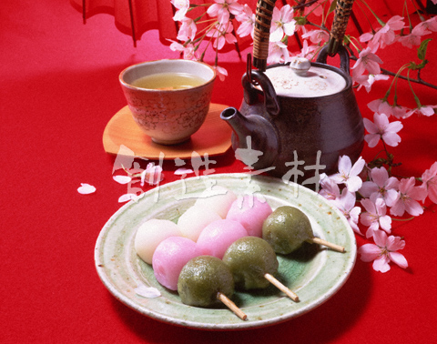 三色団子と緑茶