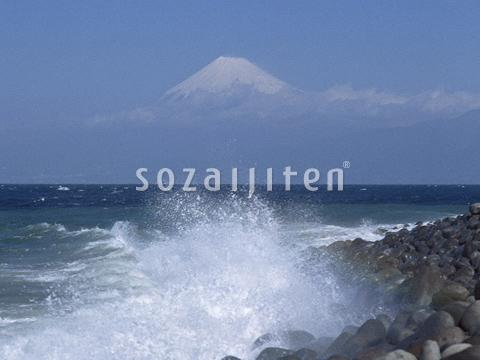 富士山と波しぶき