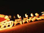 サンタクロースとトナカイのイルミネーション