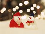 サンタクロースと雪だるま