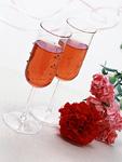 ロゼワインとカーネーション