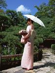 日傘をさす着物の女性