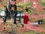 紅葉の庭に立つ道行き姿の女性
