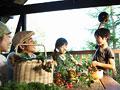 野菜を囲む親子