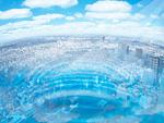 青空と市街地