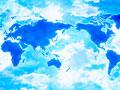 世界地図と青空