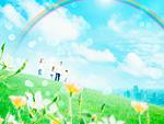 草原の親子と虹
