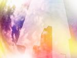ビル街と雲