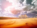 町並と砂漠