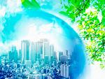 ビル街と地球儀