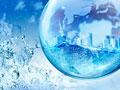 地球儀と水しぶき