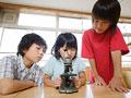 顕微鏡を覗く小学生