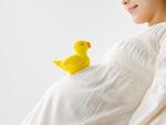ヒヨコのぬいぐるみと妊婦