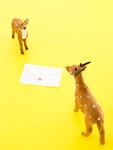 鹿の置物とメッセージカード