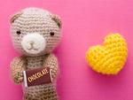ハートとクマの編みぐるみ