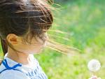 タンポポの綿毛を持つ少女