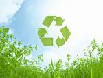 草原とリサイクルマーク