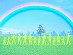 虹の下で歩く人々