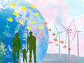 手をつなぐ家族と風力発電のイメージ