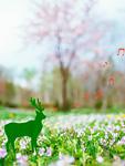 花畑にいる鹿のイメージ