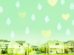 住宅街の上に浮かぶ葉とハート