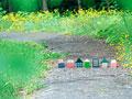 道の上に並ぶ住宅のミニチュア