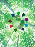 新緑と葉に囲まれた地球