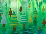 水面上に立つ森林のミニチュア