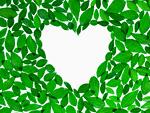 葉に囲まれたハート(エコロジーイメージ)