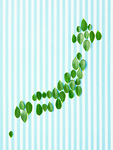 葉で作られた日本列島(エコロジーイメージ)