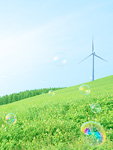 風力発電機とシャボン玉