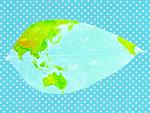 葉に描かれた世界地図