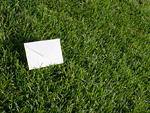 芝生と封筒