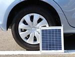 自動車のタイヤとソーラーパネル