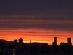 夕焼け空と町並