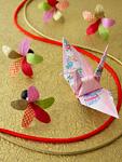 羽子と折り鶴