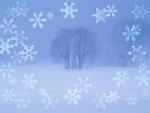 木立と雪の結晶(CG)