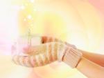 ギフトボックスを持つ手袋をした手(CG)