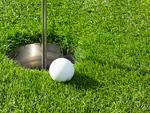 パークゴルフのボールとホールカップ