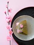 梅の花と桜餅