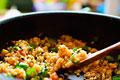 タイトル:ピーマンと大葉の醤油麹チャーハン