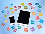 スマートデバイスとアプリアイコンのカード