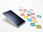 スマートフォンとアプリアイコンのカード