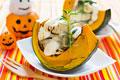 タイトル:かぼちゃにのせのせグラタン