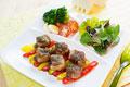 タイトル:サイコロ豚テキ オニオンステーキソース