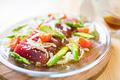 タイトル:マグロと春野菜のカルパッチョ