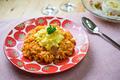 タイトル:ふわふわ卵の野菜たっぷりオムライス