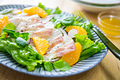 タイトル:お刺身サラダ オレンジドレッシング